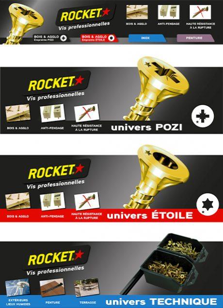 plv fronton vis rocket en magasin de bricolage (gsb)